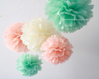 Mint Peach Wedding - 12 Tissue Paper Pom Poms - Fast Shipping - Wedding / Bridal Shower Decoration Flowers