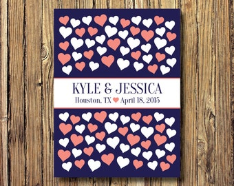 Custom Wedding Guestbook Alternative Art Print-Hearts-Couple's Names-Guest Book-Poster OR Canvas-18x24-20x30-24x36-Navy-Coral-Choose Colors