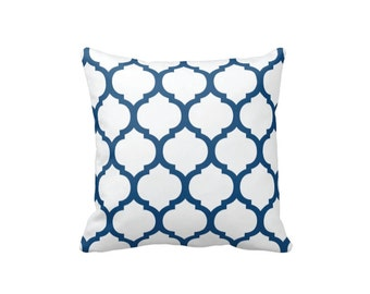 Custom Quatrefoil Throw Pillow & Cover-White-Monaco Blue OR Customize with ANY Colors-Available in 14x14-16x16-18x18-20x20-14x20-26x26
