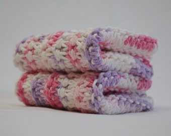 Hand Knit Dishcloth Set: 100% Cotton Set of 2 Pink, Purple & White Dish Cloths, Ready to Ship, Charity Donation for Alzheimer's Research