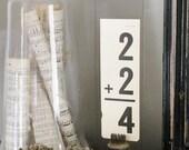 Vintage Flash Card  Math Addition YOUR Choice Farmhouse Decor Sign Shabby Chic Game