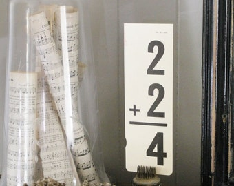 Vintage Flash Card  Math Addition   Farmhouse Decor  Fixer Upper Decor Ephemera