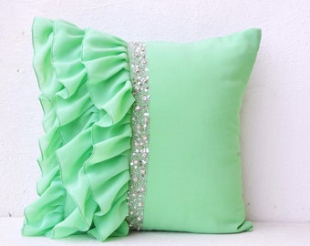 mint green ruffled beaded throw pillows 16x16 decorative throw pillow cases mint cushion cover