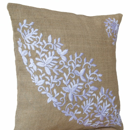 Items similar to burlap pillows case embroidered pillow