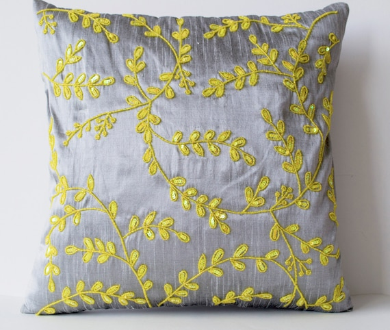 Items similar to Grey Yellow throw pillows with beads detail, Beaded Leaves pillows, Silk ...