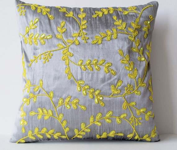 Beaded Grey Throw Pillow : Items similar to Grey Yellow throw pillows with beads detail, Beaded Leaves pillows, Silk ...