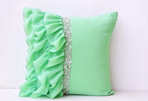 Decorative Pillows With Beads : Items similar to Mint green ruffled beaded throw pillows 16X16 Decorative Throw Pillow Cases ...