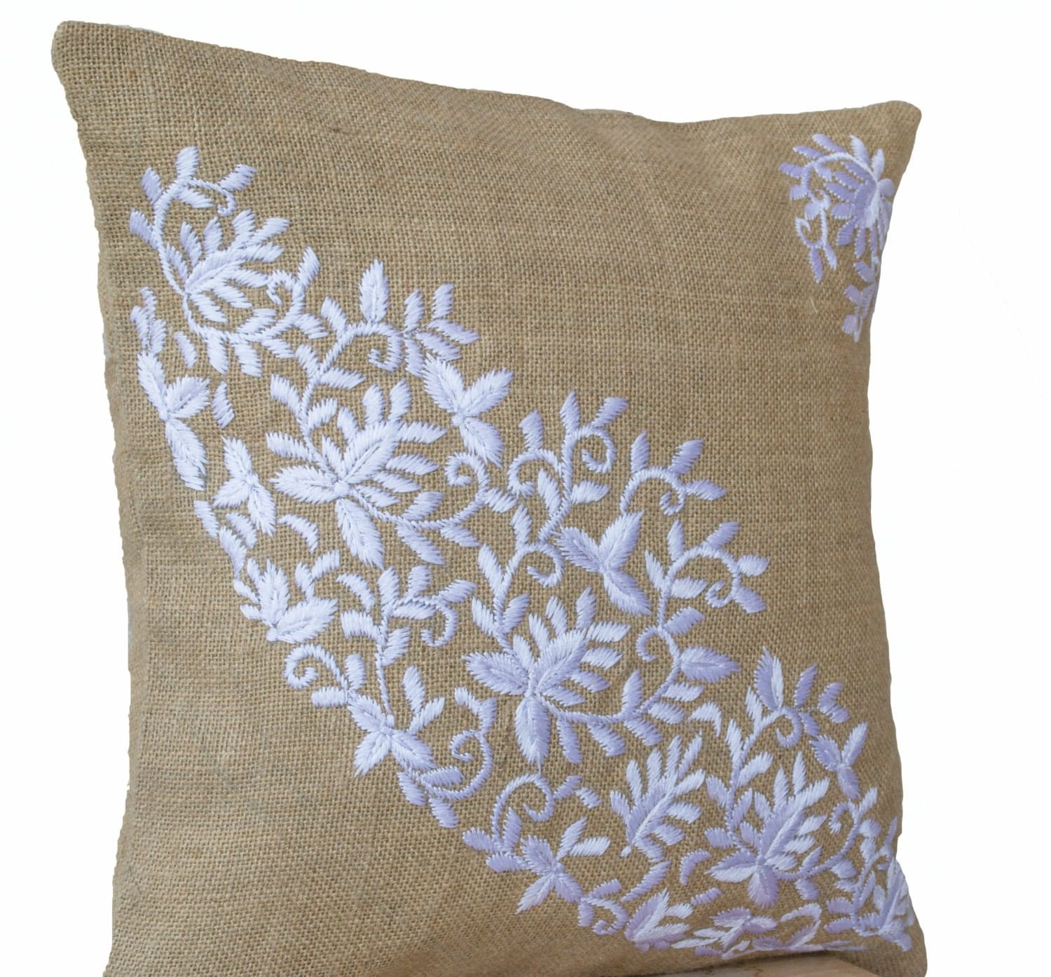 Burlap pillows case embroidered pillow white flower leaves