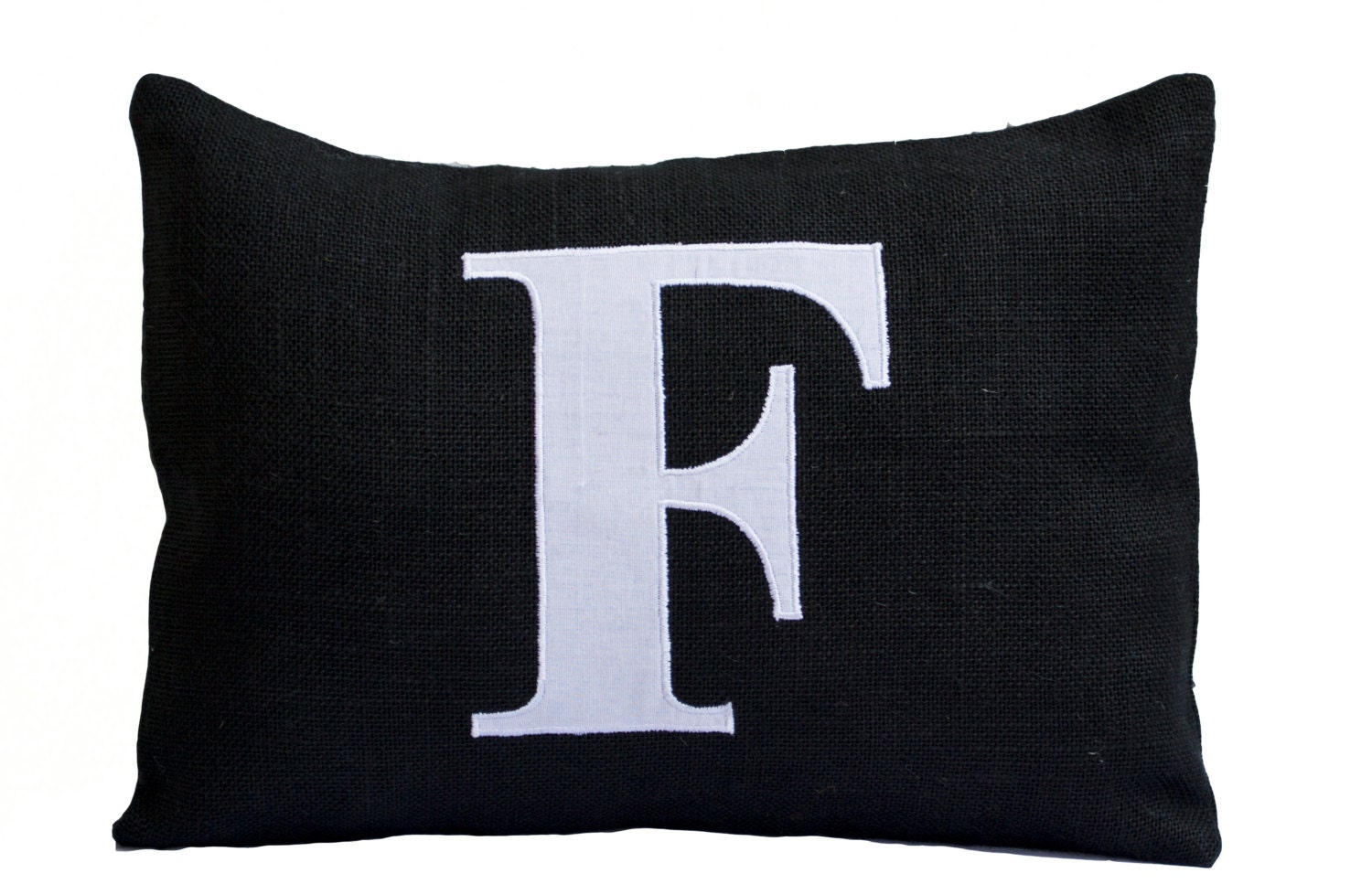 Personalized Monogram Lumbar Throw Pillow Burlap Pillows