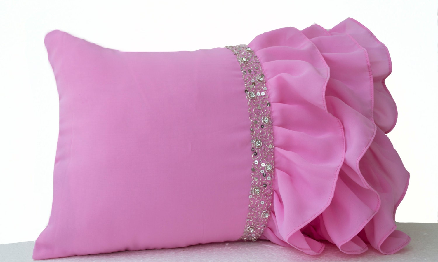 Decorative Pillow Pink : Pink ruffled throw pillows Ruffle pillows 12x20 Pink Lumbar