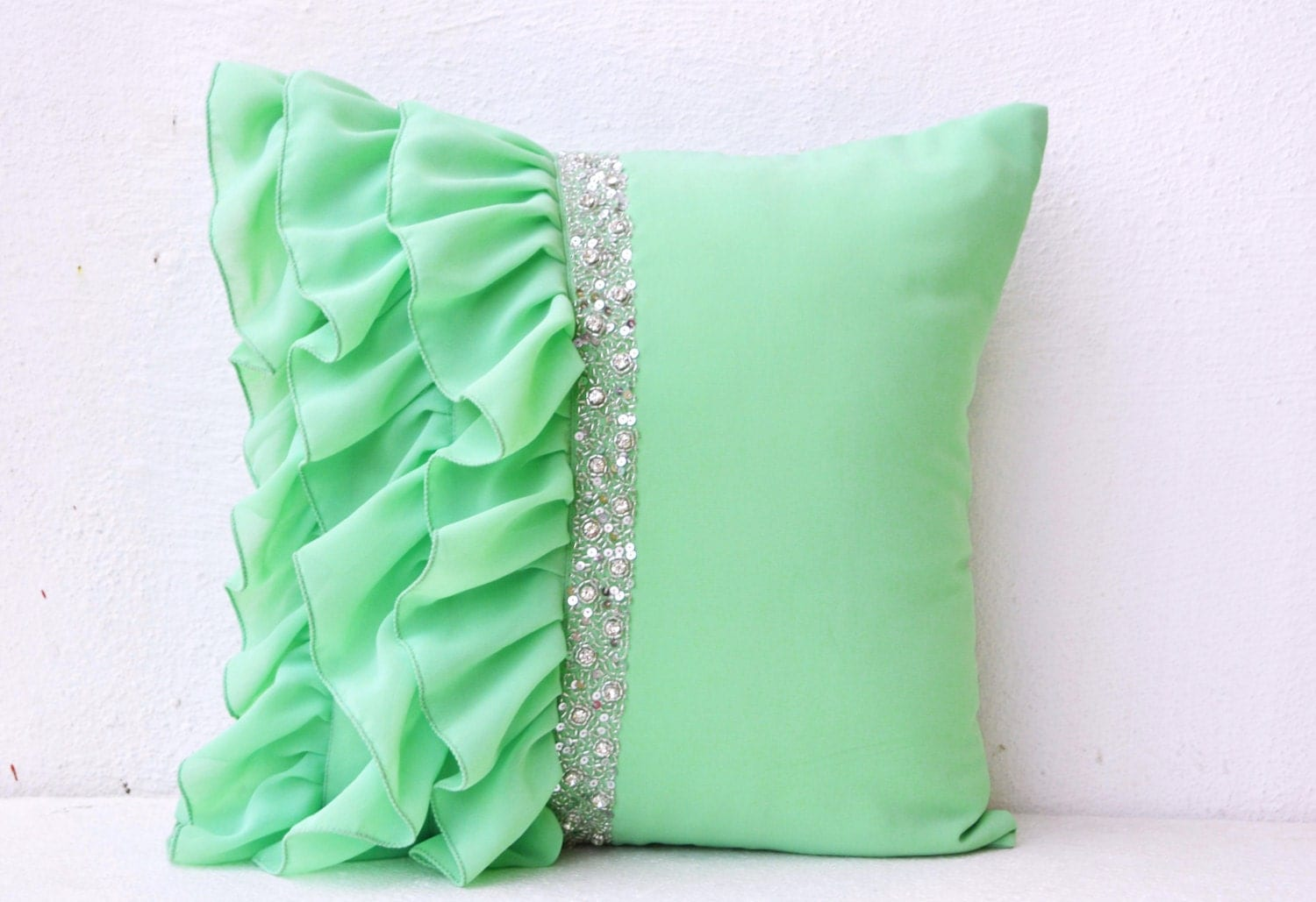 Mint green ruffled beaded throw pillows 16X16 Decorative