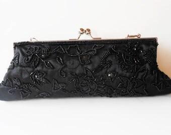 Black Evening Bag Vintage Beaded Handbag Purse Formal EB-0551