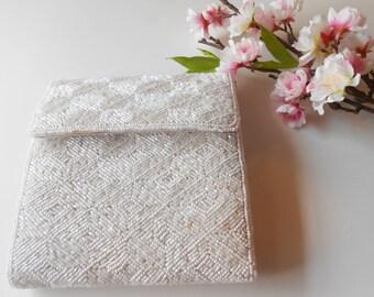 Beaded Wedding Purse, White Evening Bag, Vintage  White Bag, Carla Marchi Handbag, Vintage Handbag, Wedding Bridal  EB-0494