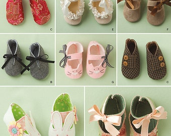 Smiplicity 1710 Baby Shoe Sewing Pattern Siz S, M, and L
