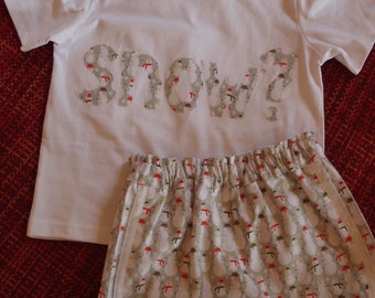 Riley Blake snowman short and t-Shirt set, grey and white