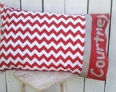 "Chevron Red and Grey Pillowcase for Youth and Teen Standard Sized Personalized Gift Idea Birthday or Christmas 20"" X 29"""