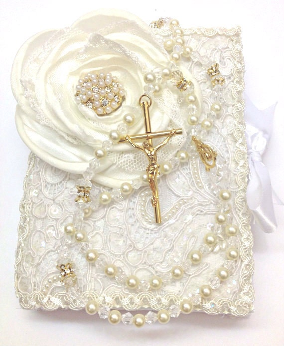Biblia De Matrimonio : Lace wedding bible and rosary