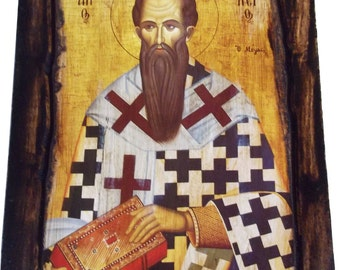 Saint St. Basil -Orthodox Byzantine icon on wood handmade (22.5cm x 17cm)