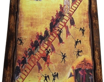 The ladder of divine ascent - Orthodox Byzantine icon on wood handmade (22.5 cm x 17 cm)