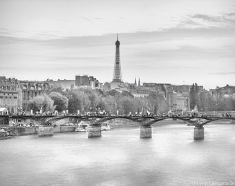 """Black and White Photography - seine river Eiffel Tower paris photography black and white Paris photo travel photography 8x10 """"White Night"""""""