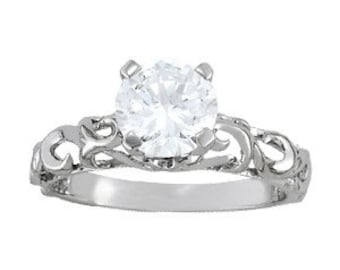 14K Gold Customized Solitaire Engagement Ring (st - C4)