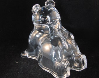 Vintage glass bear piggy bank
