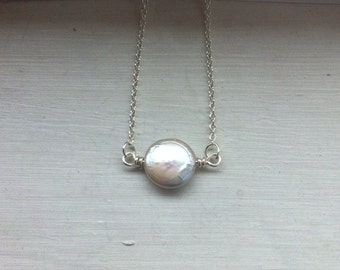 Freshwater pearl coin necklace, Single pearl necklace, bridesmaid gift, simple everyday jewelry