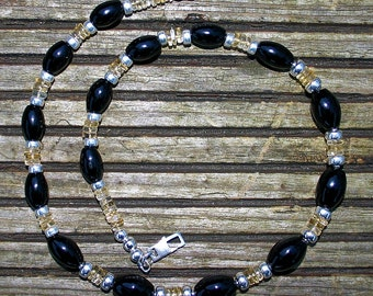 ONYX  CITRINE And SILVER Necklace For Men