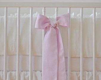 White Linen Crib  bedding - gathered skirt, 4 side bumper - Nursery bedding