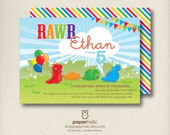 RAWR Lil Dinosaur | Dino Birthday Invitation | Printable Party Announcement Card | Personalized Digital Invite