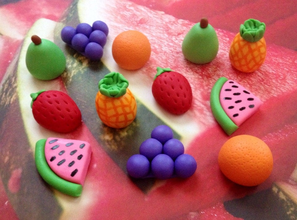 Fondant Fruit Foodie Cupcake Cake Decorations