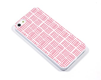iPhone 5/5s iPhone 5c iPhone 6/6plus Samsung Galaxy S3 S4 S5 iPod touch 4th/5th Gen - weave white pink