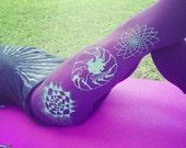 Elemental Chakra Leggings - Aqua Blend screen print on American Apparel Cotton Spandex Sacred Geometry Leggings. Sri Yantra, lotus flower.