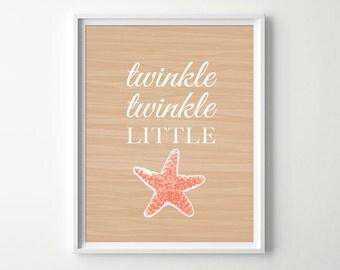 Tropical Nursery Decor - Starfish Decor - Twinkle Twinkle Little Star Decor - Under the Sea Nursery - Baby Girl Nursery - Starfish Art