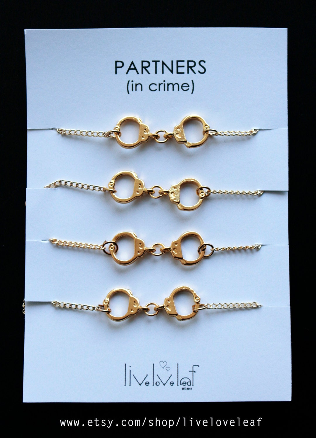 Set of 4 gold handcuffs bracelets for four best friends aka Best christmas gift to get your best friend