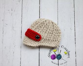 Crochet boy newsboy hat visor brim hat crochet Newborn photo props photography boy-Made to order