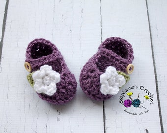 Crochet baby girl mary jane shoes, crochet girls shoes props photography girl, Mary janes with flower- Made to order