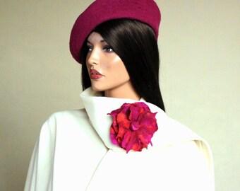 Telemagenta Hot Pink  brooch Felted brooch Cheery Pink broach Fancy flower Felt brooch Multicolor brooch
