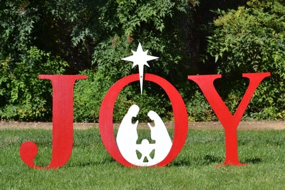 Joy nativity outdoor christmas holiday yard by for Outdoor christmas signs