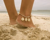 Driftwood Cowrie Anklet, Wooden Beaded with Cowrie Shells and Cotton Tassel