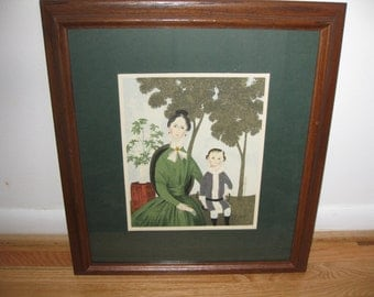 "FRAMED VINTAGE PRINT Mother and Son 17"" X 18 1/2"" Dark Wood Frame Print Matted In Green"