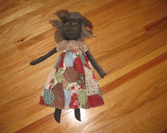 BLACK AMERICANA DOLL Antique, Handmade Rag Doll