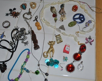 Vintage Jewelry Lot for repurpose or for wear, Destash, craft supplies.