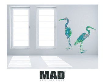 wall sticker wall decal 2 HERONS with pattern