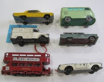 Matchbox Cars No. 3, 14, 20, 27,  31 and  34 Vehicles for Parts or Restoration
