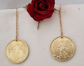ANGEL COIN Earrings with 14K Gold Filled Ear Wires