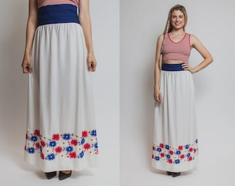 Americana skirt- Vintage 70s FLORAL red white blue high waist maxi 1970s fourth of july AMERICANA skirt