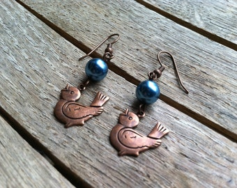 Copper Bird and Teal Pearls Dangle Earrings  ER-080514-01