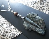 Rear View Mirror Charm- Green Jasper Leaf- Wood Beads- Silver- Nature- Forest- Woodland- Window Charm- Gift for Him or Her