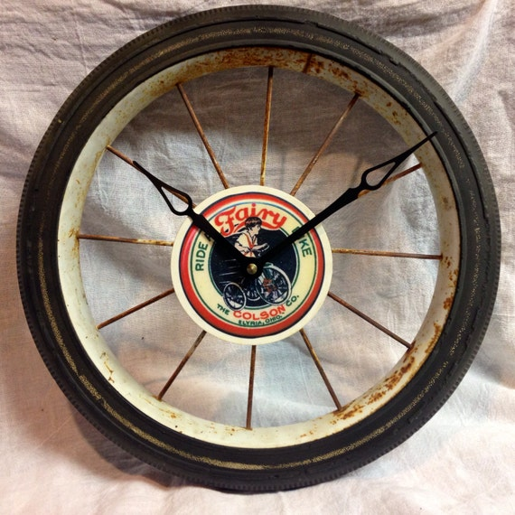 Vintage Tricycle Wheels : Vintage tricycle wheel clock by justjennhomearts on etsy